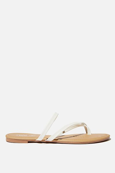 Everyday Strappy Toe Loop Slide, WHITE PU