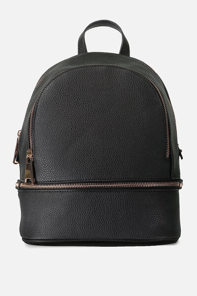 Mia Back Pack, BLACK WITH ROSE GOLD
