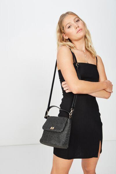 Harper Hand Bag, BLACK WOVEN