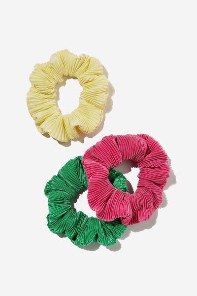 3Pk Scrunchies, PLISSE PINK POP