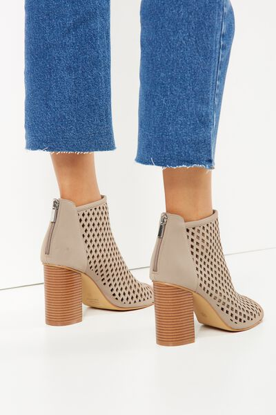 Sonic Heeled Perforated Boot, TAUPE