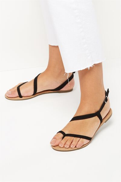 Everyday Annie Asymetric Sandal, BLACK MICRO