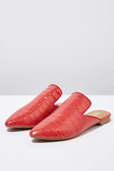 Souk Pointed Slipper Mule, RED CROC EMBOSS PU