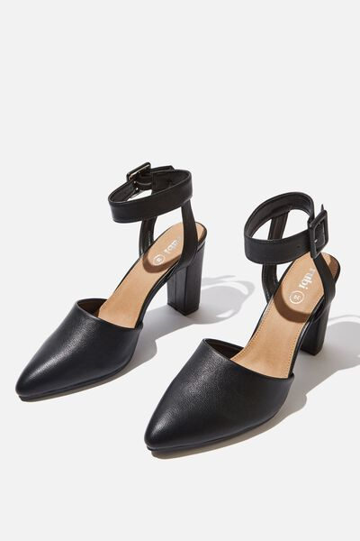 Baker Buckle Heel, BLACK