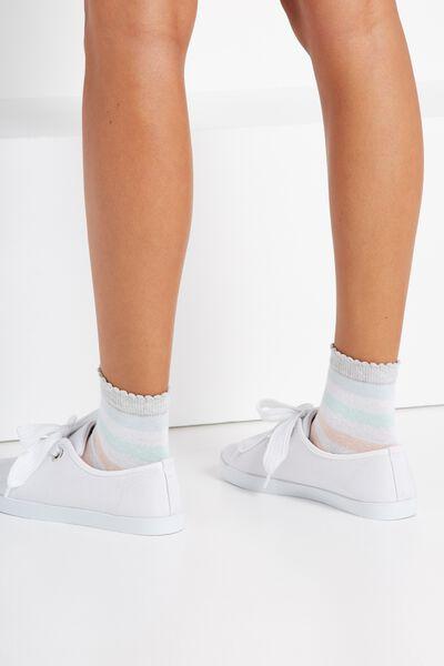 Scallop Trim Sock, GELATI STRIPE