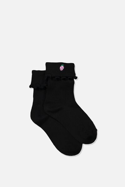 Embroidered Flirty Frill Sock, BLACK/STRAWBERRY