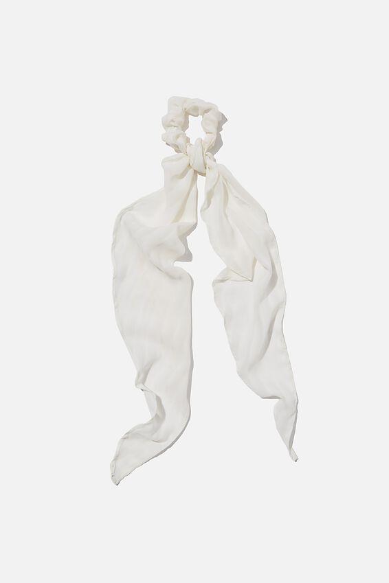 New York Convertible Scrunchie, WHITE SELF STRIPE