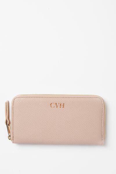 Personalised Audrey Zip Around Wallet, CLAY