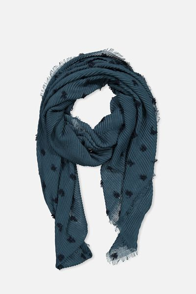 Penny Pleated Midweight Scarf, DEEP TEAL TEXTURE