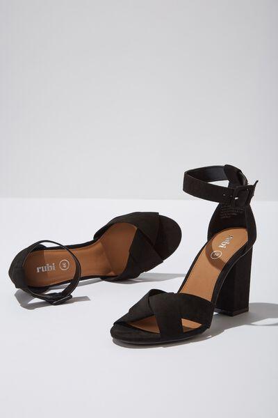 Martini Block Heel, BLACK MICRO