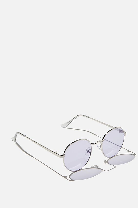 Emmi Metal Frame Sunglasses, SILVER/PURPLE