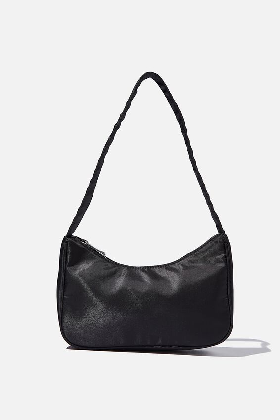 Nylon Underarm Bag, BLACK