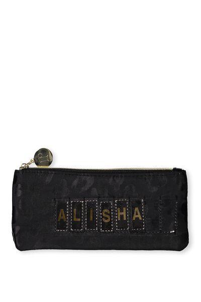Personalised Mini Cosmetic Case, BLACK LEOPARD