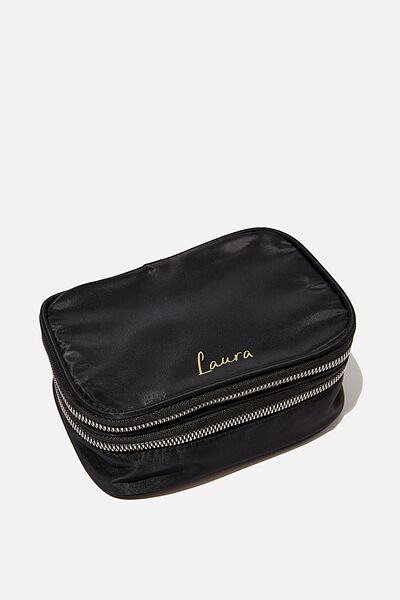 Monogrammed Double Storey Cosmetic Case, BLACK