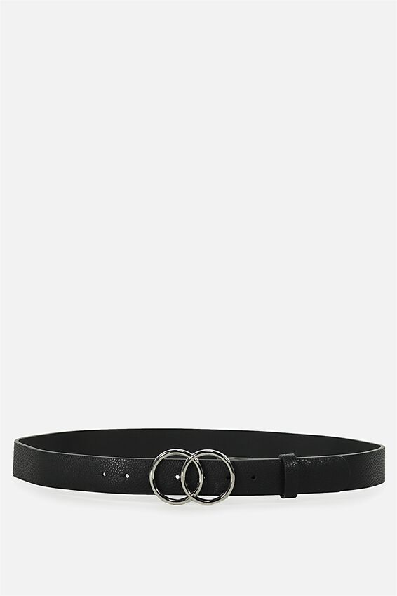 Double Circle Belt, BLACK W SILVER