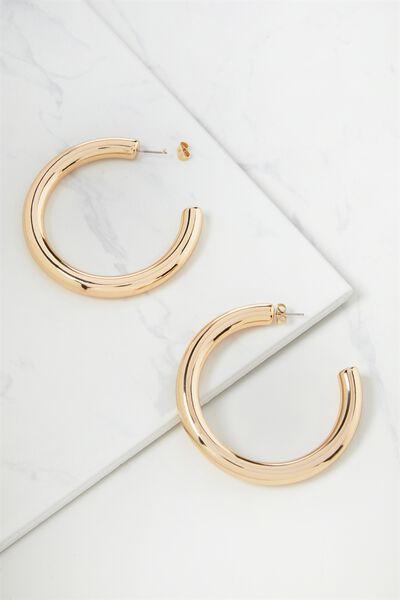 Chunky Classic Metal Hoop Earring, GOLD