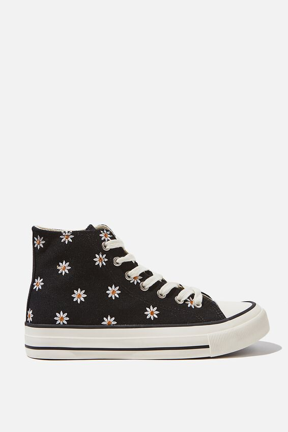 Britt Retro High Top, BLACK DAISY EMBROIDERY