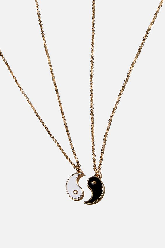 Bff Necklace Set, YIN & YANG BLACK WHITE