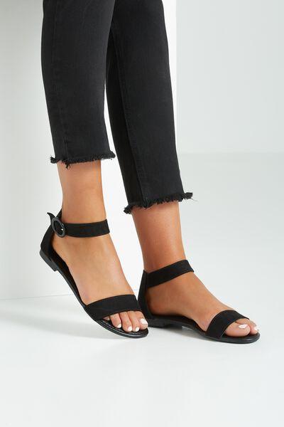 Francesca Single Vamp Sandal, BLACK
