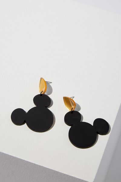 Perspex Mickey Statement Earring, BLACK GLITTER