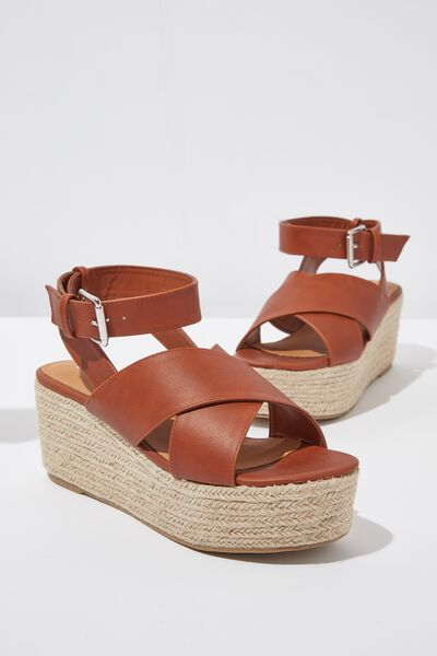 Casey Cross Over Wedge, TAN SMOOTH