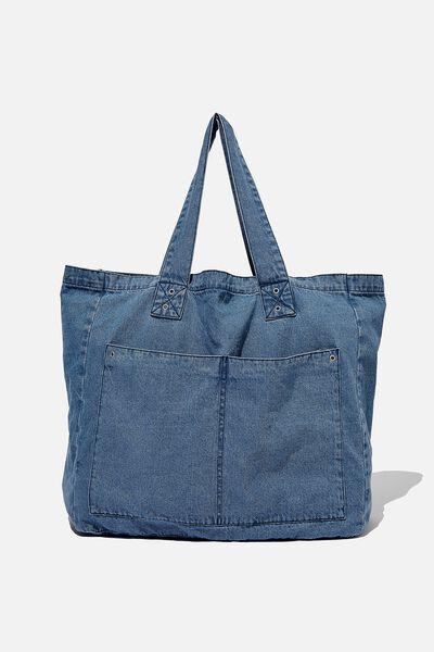 Max Washed Weekend Tote Bag, BOSTON DENIM BLUE