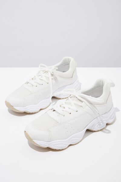 Bubble Chunky Trainer, WHITE PU