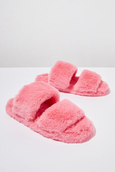 Double Strap Fluff Slipper, FUSCHIA
