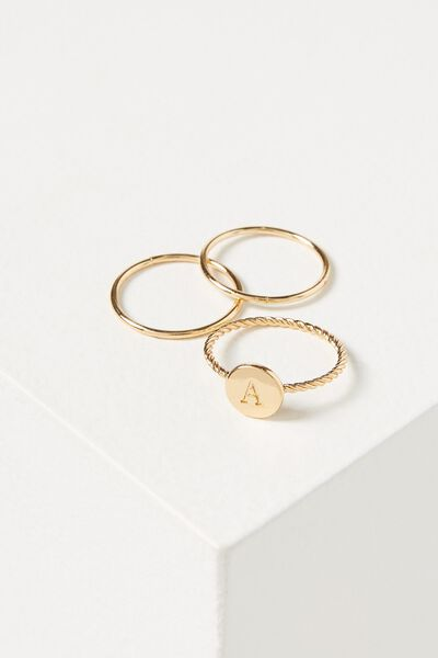 Letter Pendant Ring, GOLD - A