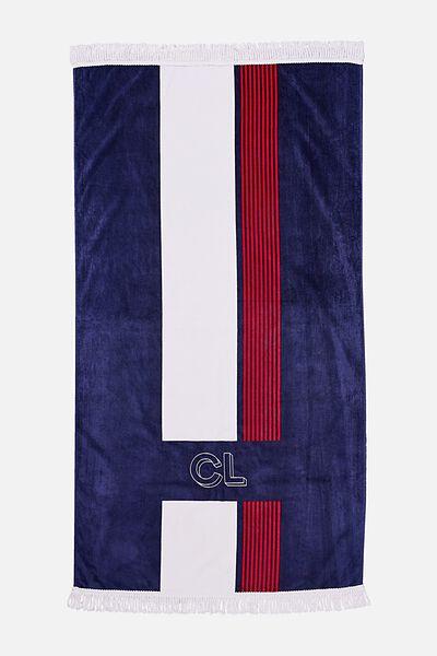 Personalised Bondi Rectangle Towel, NAVY STRIPE