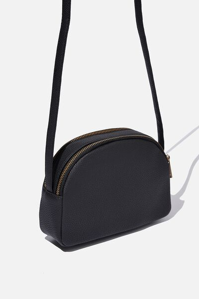 Double Zip Half Moon Bag, BLACK