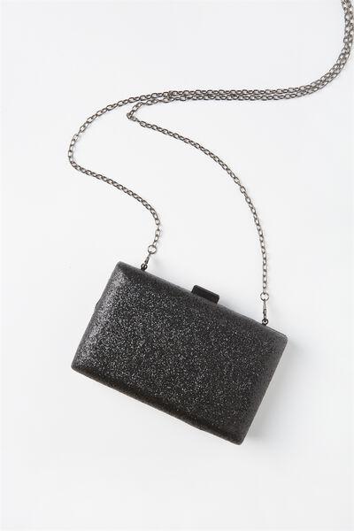 Luxe Box Clutch, BLACK GLITTER