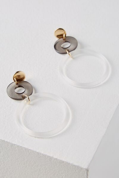 Nottingham Earring, TINTED BLACK/FROSTED CLEAR