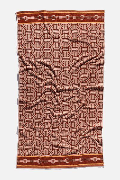 Bondi Rectangle Towel, BROWN CHAIN MONOGRAM