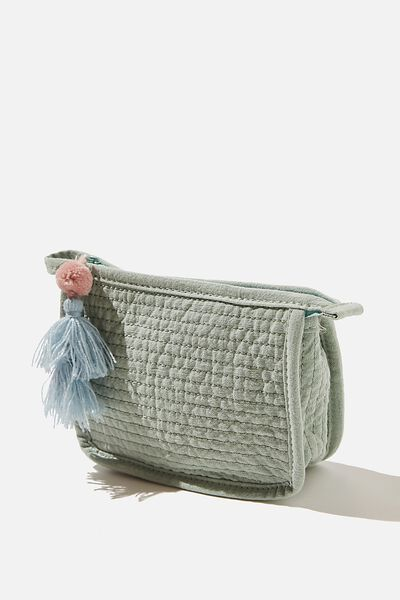 Small Quilted Pouch, WASHED MINT