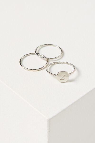Letter Pendant Ring, SILVER - Z