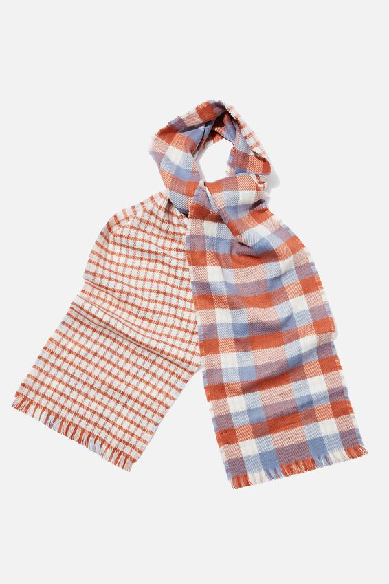 Olivia Oversized Scarf, BAKED CLAY CHECK