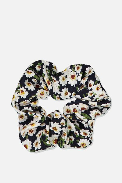 So Me Scrunchie, BLACK BASE DAISY FLORAL