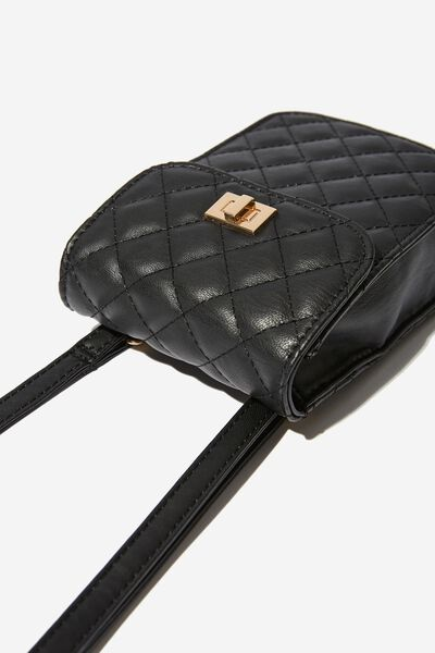 Danielle Quilted Belt Bag, BLACK