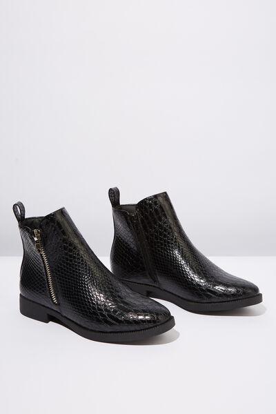 Jesinta Square Toe Zip Boot, BLACK CROC EMBOSS PU