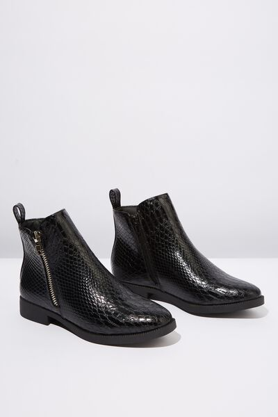 Jesinta Square Toe Zip Boot, BLACK CROC EMBOSS PU