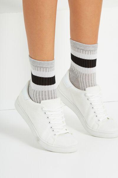 Marley Sporty Sock, GREY/SILVER STRIPE