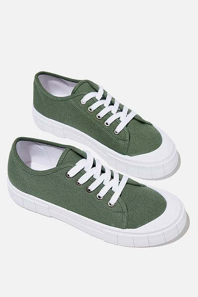 Peggy Lace Up Plimsoll, FOREST GREEN