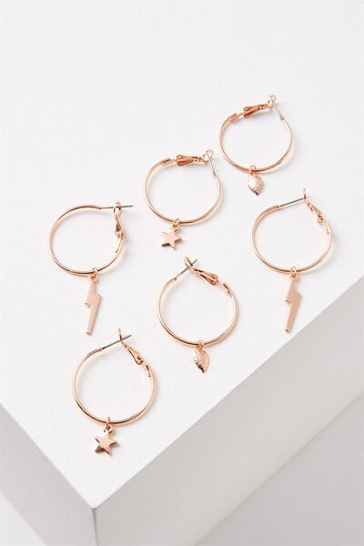 Ava Hoop Charms Pack, ROSE GOLD