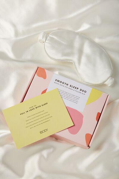 Body Home Spa | Satin Eyemask & Pillow Slip Set, WHITE