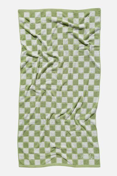 Personalised Bondi Rectangle Towel, DUSTY MINT CHECKERBOARD