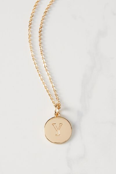 Letter Flat Pendant Necklace, GOLD - Y