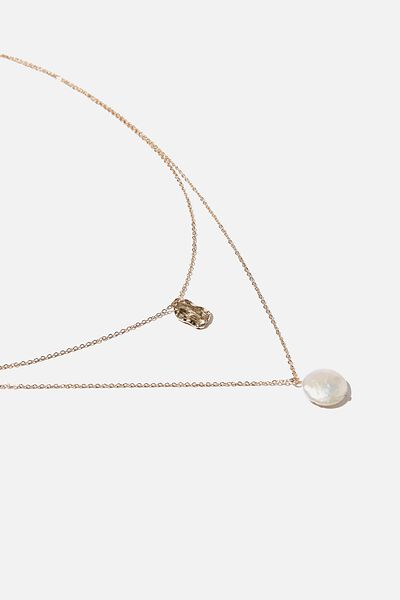 Pearl And Square Tag Trinkets Duo Necklace, GOLD