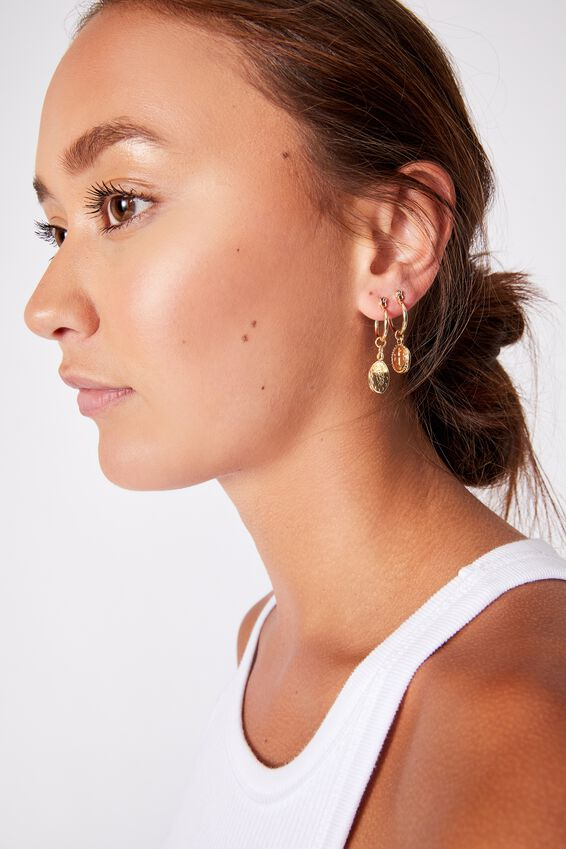 3Pk Luxe Layers Hoops, GOLD CHERUB MEDALLION