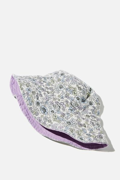 Elly Reversible Wide Brim Bucket Hat, DUSK BLUE JESSICA FLORAL